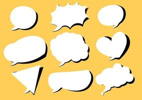 Collection of speech bubbles for comics yellow background vector