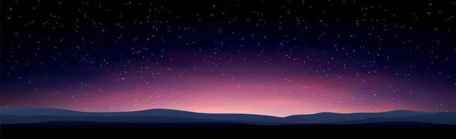 Starry black and blue sky with flying comets vector