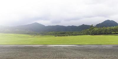 Empty asphalt road and mountain nature landscape photo
