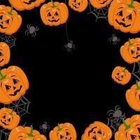 Cute dark frame with pumpkins, cobwebs and spiders. Halloween party decoration. Vegetable print with a smirk. Festive background for paper, textile, holiday and design vector