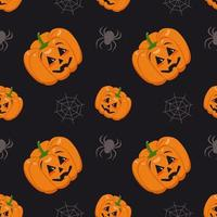 Cute dark seamless pattern with pumpkins, cobwebs and spiders. Halloween party decoration. Vegetable print with a smirk. Festive background for paper, textile, holiday and design vector