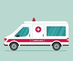 Ambulance car. First aid for isolation, viruses and pandemics. A means for the safe transportation of patients, fast emergency care. Transport to help seriously ill patients. Modern vector flat icon