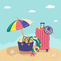 Set of summer items on the sandy beach. Bright vector postcard for sea holidays, travel and trip.