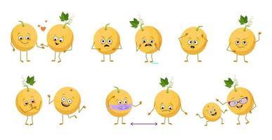 conjunto de lindos personajes de melón con emociones, caras, brazos y piernas. héroes felices o tristes, frutas exóticas juegan, se enamoran, mantienen las distancias con una máscara, con una sonrisa o lágrimas vector
