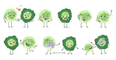 conjunto de lindos personajes de repollo con emociones, caras, brazos y piernas. héroes felices o tristes, verduras juegan, se enamoran, mantienen la distancia con una máscara, una sonrisa o lágrimas vector