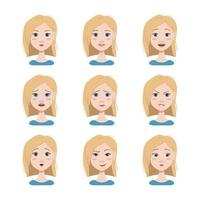 Different emotions of a blonde. Happy, sad, surprised, joyful, distressed, angry facial expressions. Fashion avatar in flat vector art