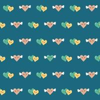 Seamless pattern of a pair of hearts with wings on a blue background. Vibrant repeating print featuring Valentine Day symbol. Suitable for stationery, clothing, packaging vector