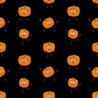 Cute dark seamless pattern pumpkins with face, happy emotions, arms and legs. Halloween party decoration. Festive background for paper, textile, holiday and design vector