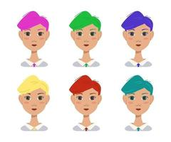 Icon set of a beautiful attractive girl with a modern fashionable hairstyle. Avatar woman with multi-coloured bright hair of blue, green, red, pink, yellow. Office worker vector