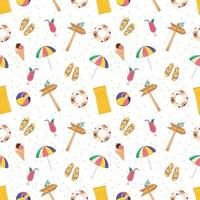 Cute bright seamless summer pattern with items for the sea and vacation.. Decorative elements for printing, textiles, wrapping paper and design vector