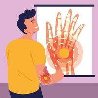 man with elbow pain vector