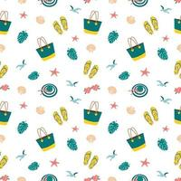 Cute bright seamless summer pattern with items for the sea and vacation. Decorative elements for printing, textiles, wrapping paper and design vector