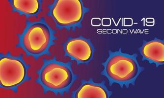 corona virus second wave poster with orange particles in purple background vector