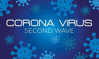 corona virus second wave poster with particles in blue background vector