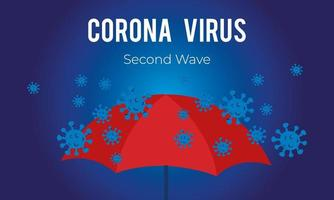 corona virus second wave poster with particles and umbrella vector
