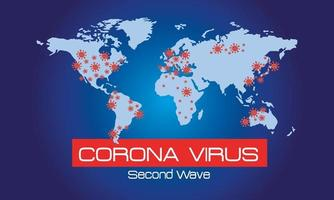 corona virus second wave poster with world maps vector