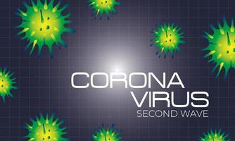 corona virus second wave poster with particles in black background vector