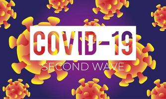 corona virus second wave poster with particles in purple background vector