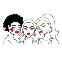 group of girls fashion pop art style vector