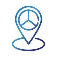 ubicación del pin con símbolo de paz y amor icono de estilo degradado vector