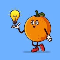 Cute Orange fruit character with light bulb Idea on hand. Fruit character icon concept isolated. Emoji Sticker. flat cartoon style Vector