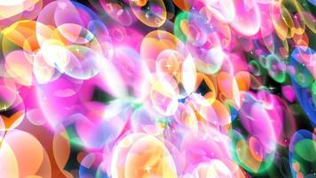 bolle arcobaleno con cuori danzanti che galleggiano su schermo nero con tema stella bianca San Valentino e movimento d'amore video