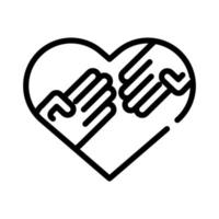 hands human in heart love symbol line style icon vector