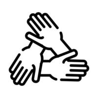hands teamwork line style icon vector