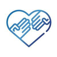 manos humanas en corazón amor símbolo icono de estilo degradado vector