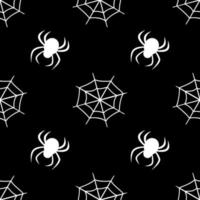 Cute seamless pattern with white cobwebs and spiders on a black background. Halloween party decoration. Bright print for paper, textiles and design vector