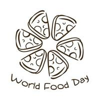 world food day celebration lettering with portions pizza line style vector