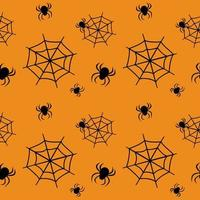 Cute seamless pattern with black cobwebs and spiders on an orange background. Halloween party decoration. Bright print for paper, textiles and design vector