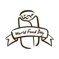 world food day celebration lettering with mexican burrito line style vector