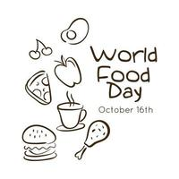 world food day celebration lettering with set fast food line style vector
