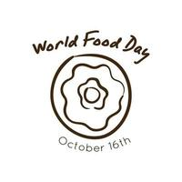 world food day celebration lettering with donut line style vector