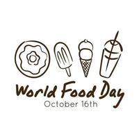 world food day celebration lettering with dessert line style vector
