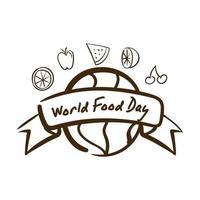 world food day celebration lettering with earth planet and fruits line style vector