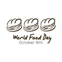 world food day celebration lettering with sandwich line style vector