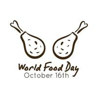world food day celebration lettering with chicken thighs line style vector