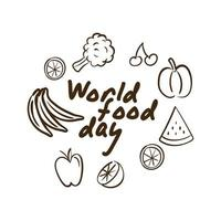 world food day celebration lettering with vegetables and fruits line style vector