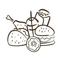 icono de estilo de línea de comida rápida vector
