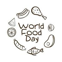 world food day celebration lettering with healthy food around line style vector