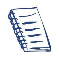 icono de estilo de forma libre de suministro escolar de cuaderno vector