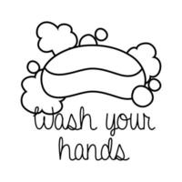 wash your hands campaign lettering with soap bar line style vector