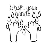 wash your hands campaign lettering with water line style vector