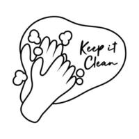 manténgalo limpio haciendo letras de campaña con estilo de línea de manos vector