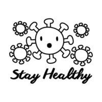 Manténgase saludable con letras de campaña con estilo de línea de partículas vector