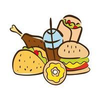 icono de estilo plano de comida rápida vector
