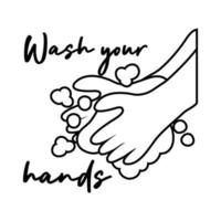 wash your hands campaign lettering with water and soap bar line style vector