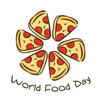 world food day celebration lettering with portions pizza flat style vector